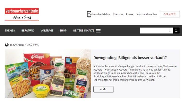 Lebensmittelindustrie verschlechtert ihre Rezepturen – Downgrading Liste der Verbraucherzentrale Hamburg
