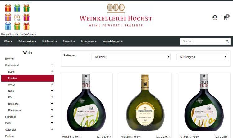 Online-Shop der Weinkellerei Höchst