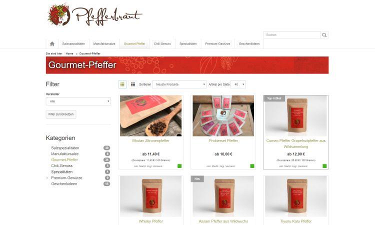 Pfefferbraut Online-Shop