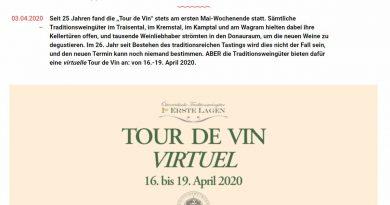 """Virtuelle """"Tour de Vin""""- Online Weine der Österreichischen Traditionsweingütern verkosten"""