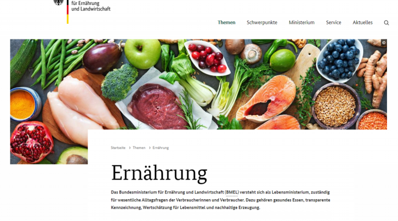 Webseite BMEL - Thema Ernährung - Screenshot Tutti i sensi