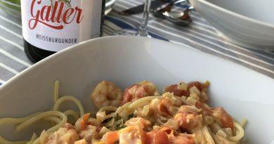 Rezept vom Bio-Weingut Galler – Spaghetti mit Garnelen und Weinsoße - Foto: Weingut Galler