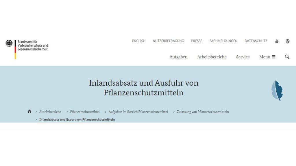 Pflanzenschutzmittel in Deutschland - Jahresbericht des Bundesamts für Verbraucherschutz und Lebensmittelsicherheit  - Screenshot Tutti i sensi