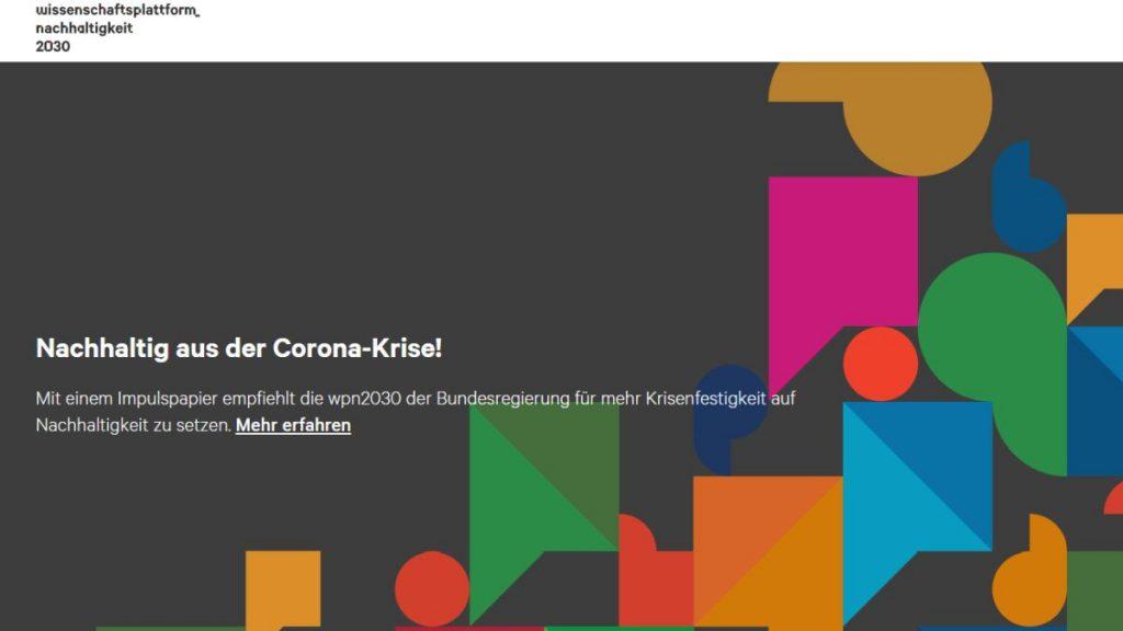 """Die Wissenschaftsplattform Nachhaltigkeit 2030 (wpn2030) äußert sich zur Generaldebatte """"Nachhaltigkeit"""", welche in der letzten Woche im Bundestag stattfand. - Screenshot: Tutti i sensi"""