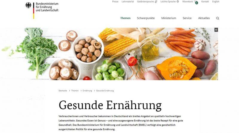 BMEL Webseite - Gesunde Ernährung - Screeshot Tutti i sensi