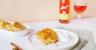 Mumm Spätburgunder Rosé und Apfelküchle mit Vanillesahne
